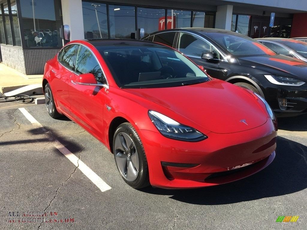 2018 Model 3 Long Range - Red Multi-Coat / Black photo #22