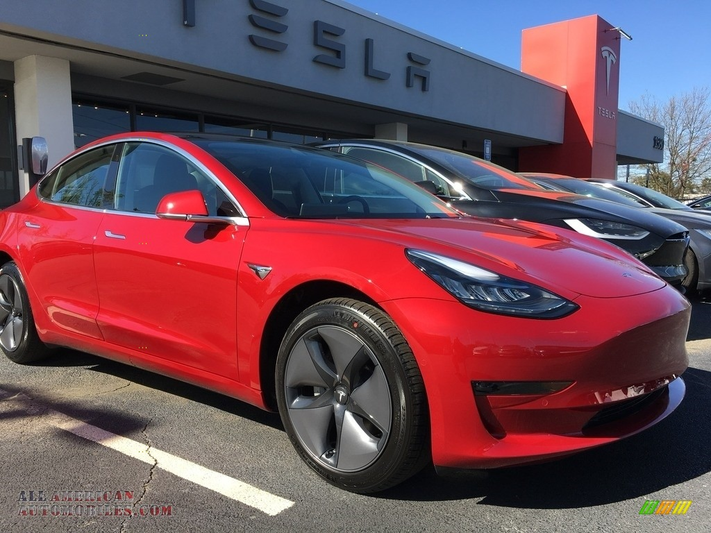 2018 Model 3 Long Range - Red Multi-Coat / Black photo #23