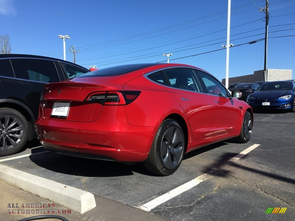 2018 Model 3 Long Range - Red Multi-Coat / Black photo #25