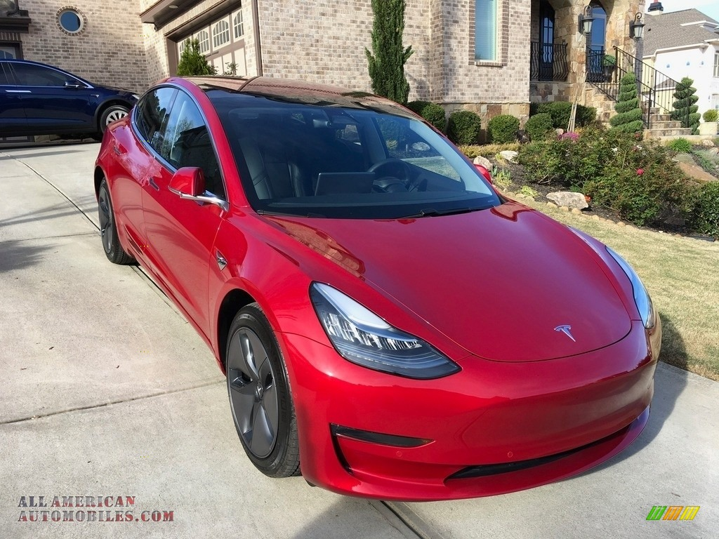 2018 Model 3 Long Range - Red Multi-Coat / Black photo #31