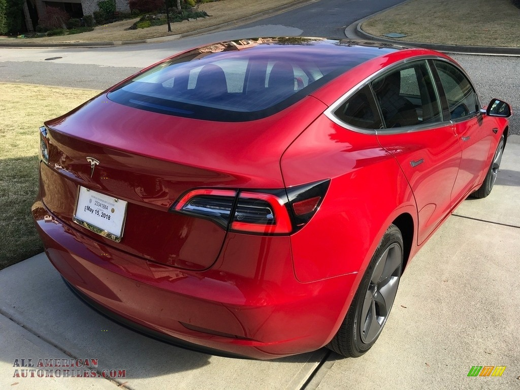 2018 Model 3 Long Range - Red Multi-Coat / Black photo #35