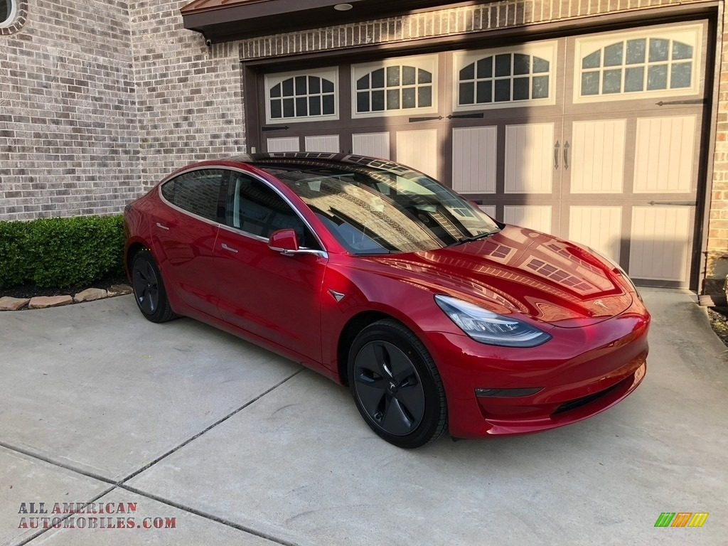 2018 Model 3 Long Range - Red Multi-Coat / Black photo #38