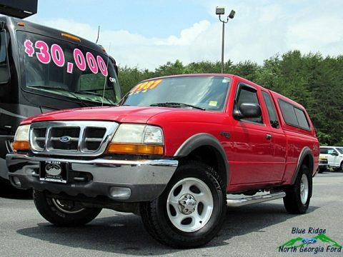 Bright Red 1999 Ford Ranger XLT Extended Cab 4x4