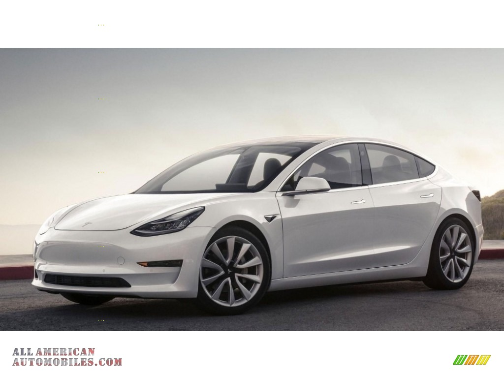 Pearl White Multi-Coat / Black Tesla Model 3 Long Range