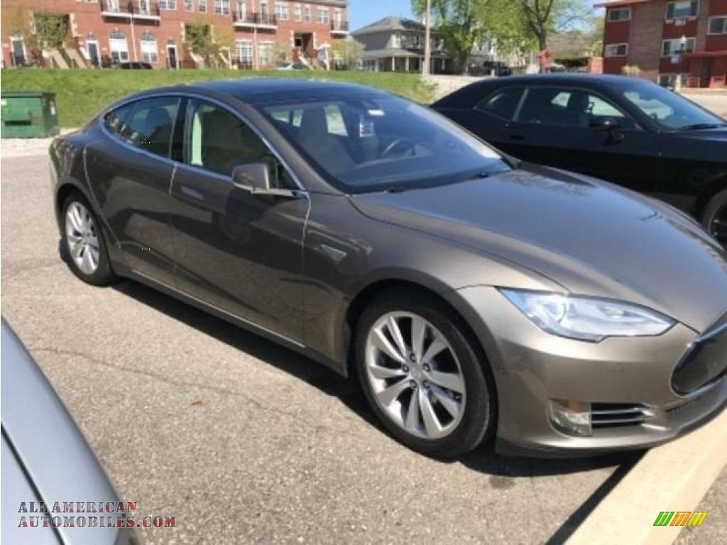 2016 Model S 90D - Titanium Metallic / Tan photo #1