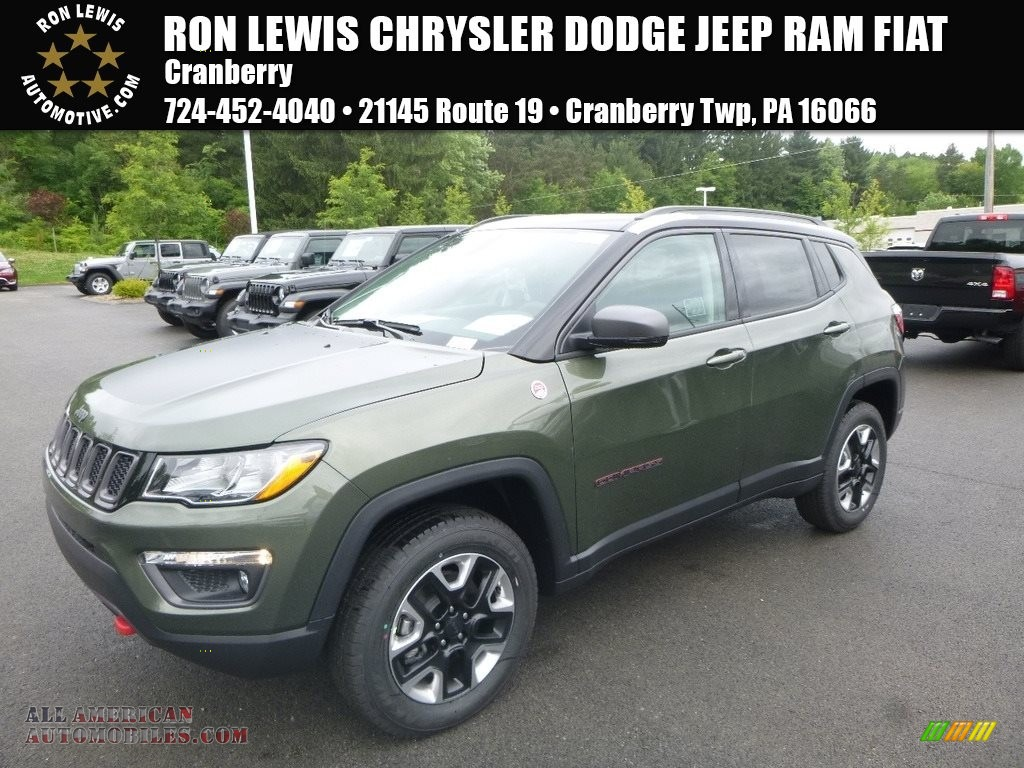 2018 Compass Trailhawk 4x4 - Olive Green Pearl / Black/Ruby Red photo #1