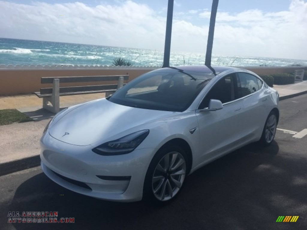 2018 Model 3 Long Range - Pearl White Multi-Coat / Black photo #1