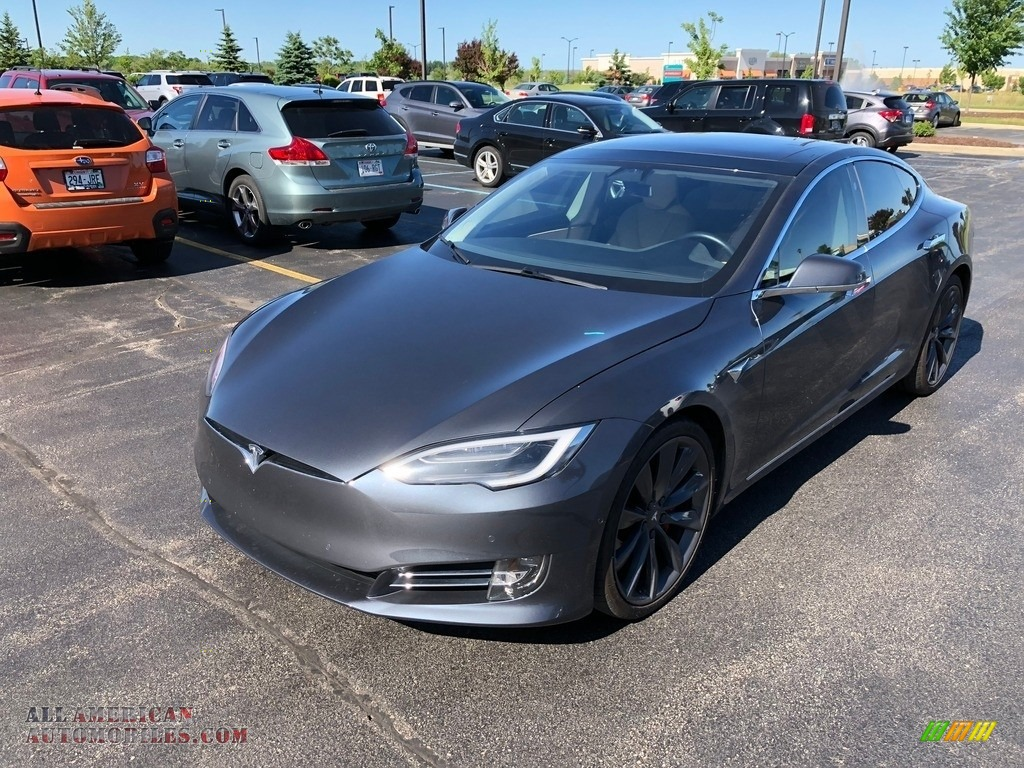 2016 Model S P100D - Midnight Silver Metallic / Tan photo #1