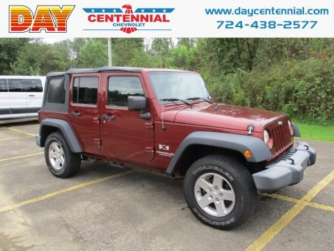 Red Rock Crystal Pearl 2007 Jeep Wrangler Unlimited X 4x4