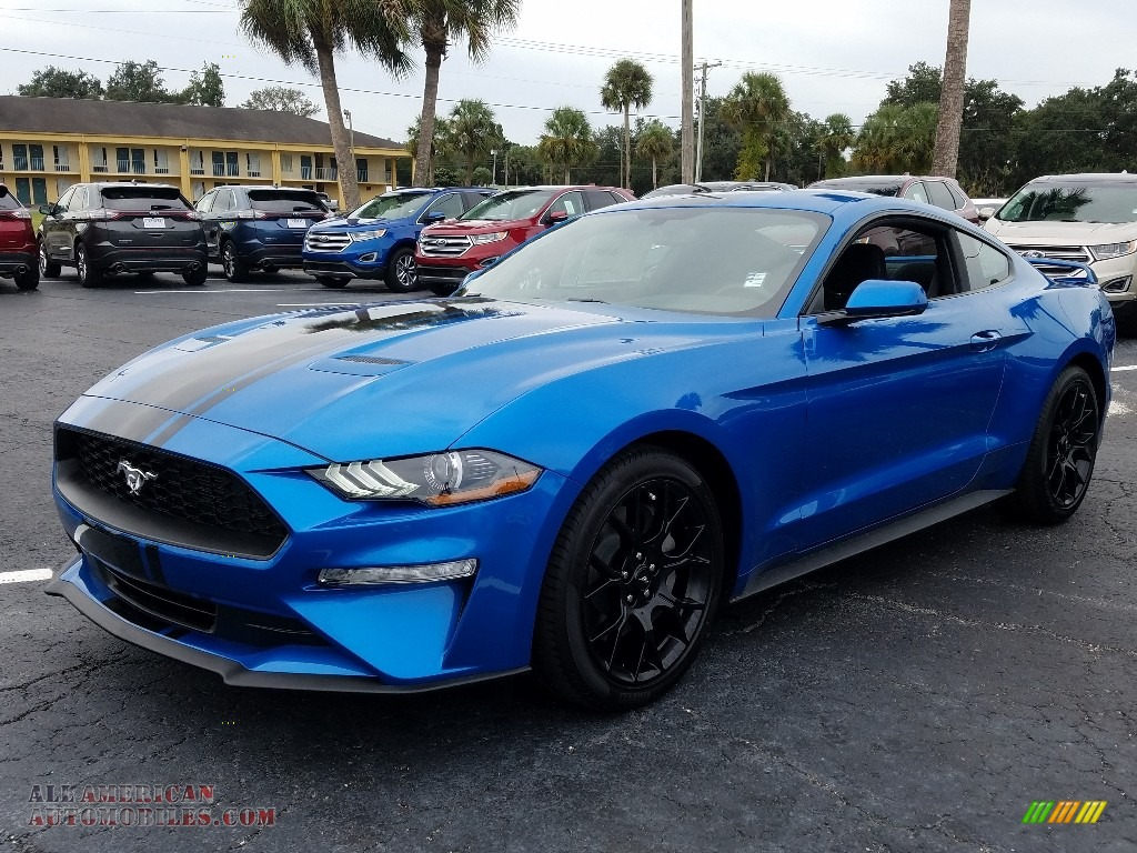 Velocity Blue / Ebony Ford Mustang EcoBoost Fastback