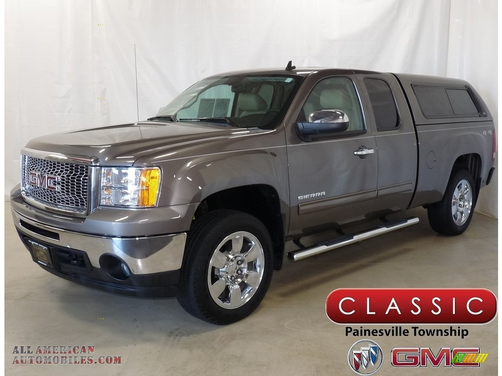 2011 Sierra 1500 SLE Extended Cab 4x4 - Mocha Steel Metallic / Ebony/Light Cashmere photo #1