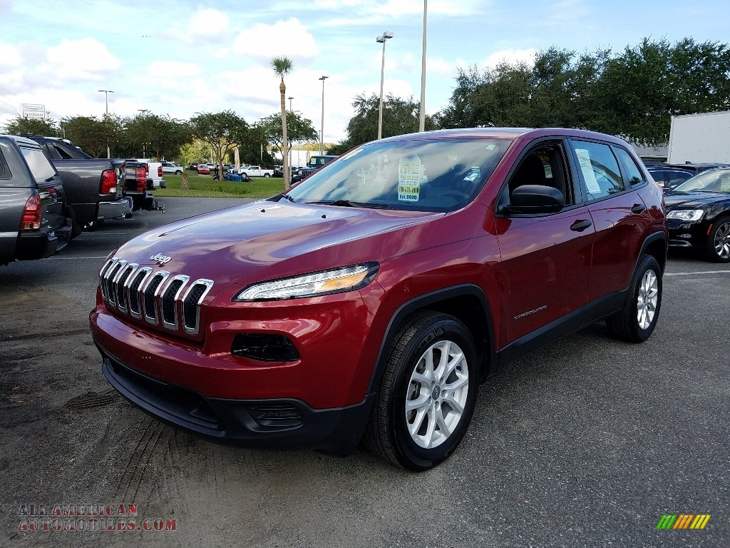 Deep Cherry Red Crystal Pearl / Iceland - Black/Iceland Gray Jeep Cherokee Sport