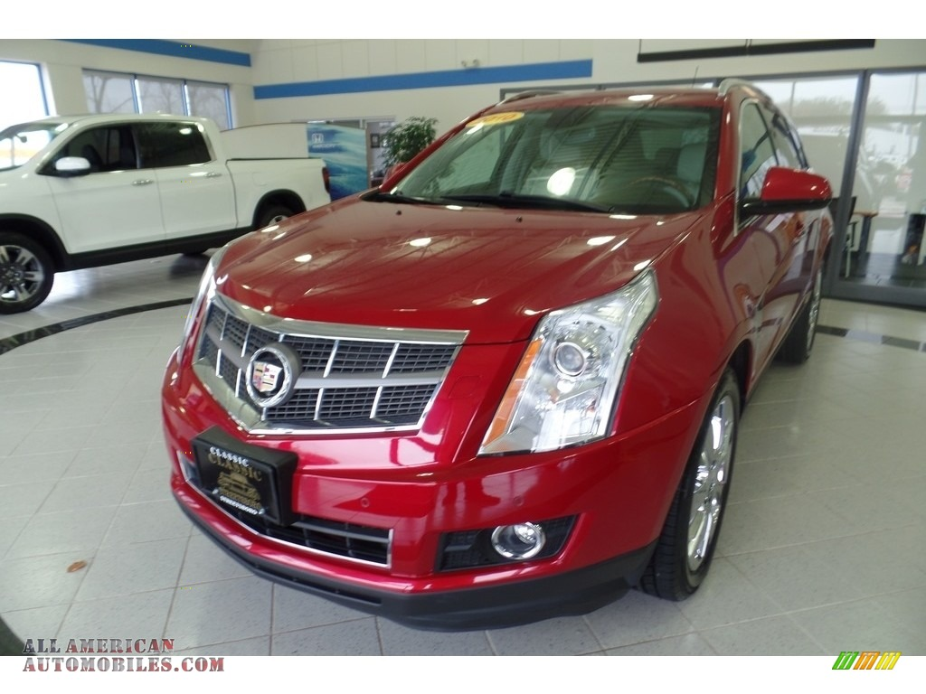 Crystal Red Tintcoat / Shale/Brownstone Cadillac SRX 4 V6 AWD