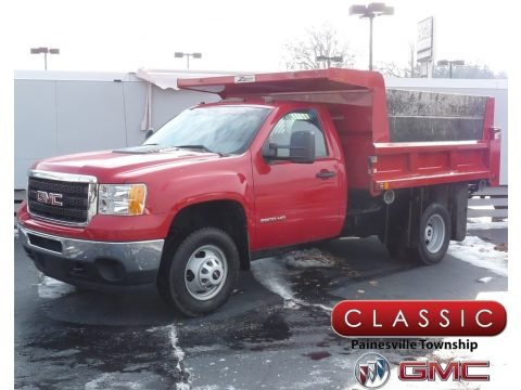 Fire Red 2011 GMC Sierra 3500HD Work Truck Regular Cab Chassis Dump Truck