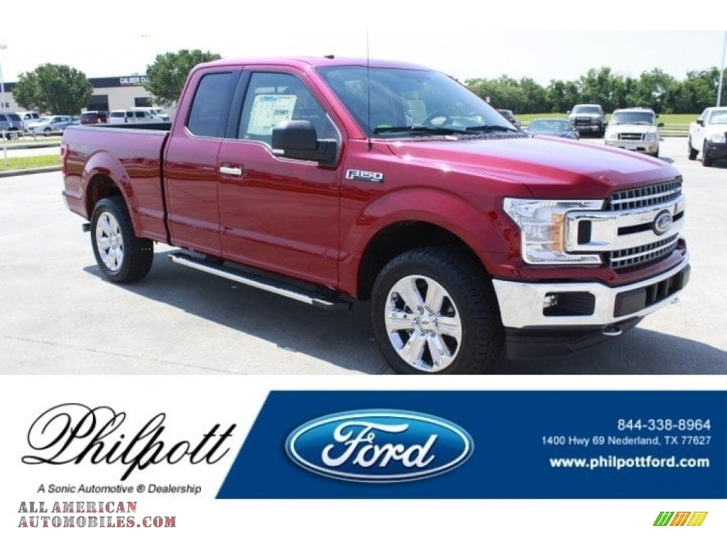 2018 F150 XLT SuperCab 4x4 - Ruby Red / Light Camel photo #1