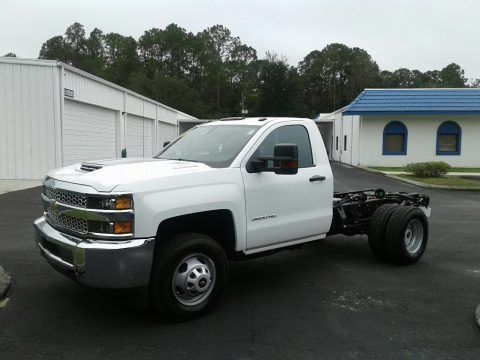 Summit White 2019 Chevrolet Silverado 3500HD Work Truck Regular Cab 4x4 Chassis