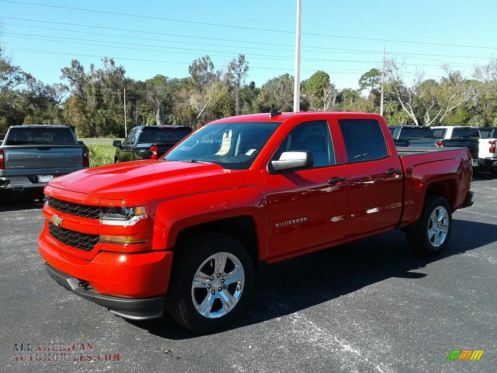Red Hot / Dark Ash/Jet Black Chevrolet Silverado 1500 Custom Crew Cab 4x4