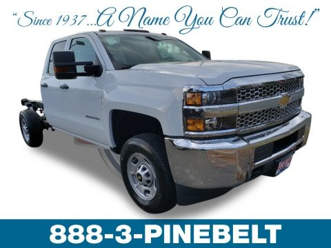 Summit White 2019 Chevrolet Silverado 2500HD Work Truck Double Cab 4WD Chassis