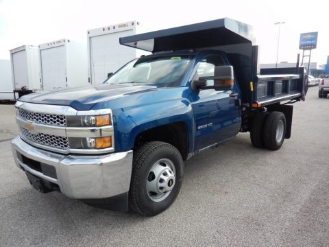 Deep Ocean Blue Metallic 2019 Chevrolet Silverado 3500HD Work Truck Regular Cab 4x4 Dump Truck