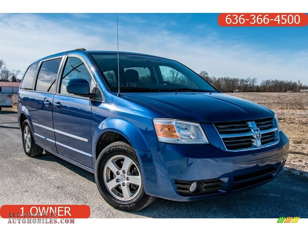 2010 Grand Caravan SXT - Deep Water Blue Pearl Coat / Medium Slate Gray/Light Shale photo #1