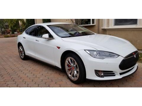 White Solid 2014 Tesla Model S 60