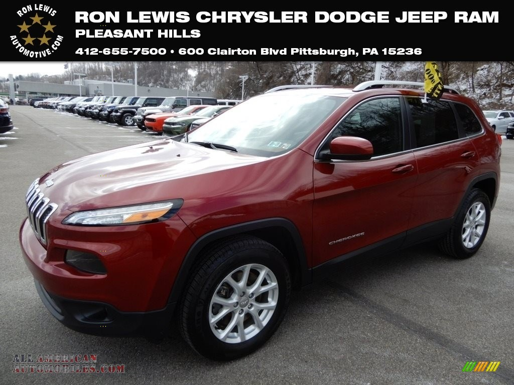 Deep Cherry Red Crystal Pearl / Black Jeep Cherokee Latitude 4x4