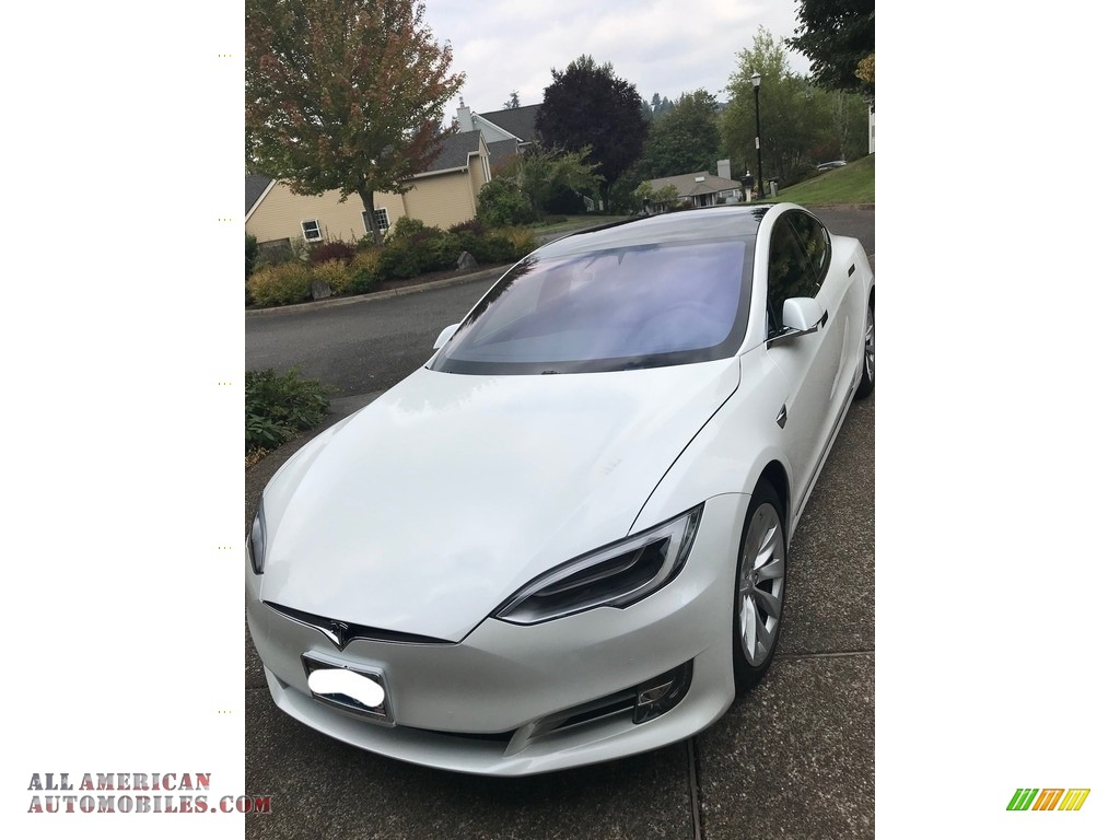 Pearl White Multi-Coat / Black Tesla Model S 100D