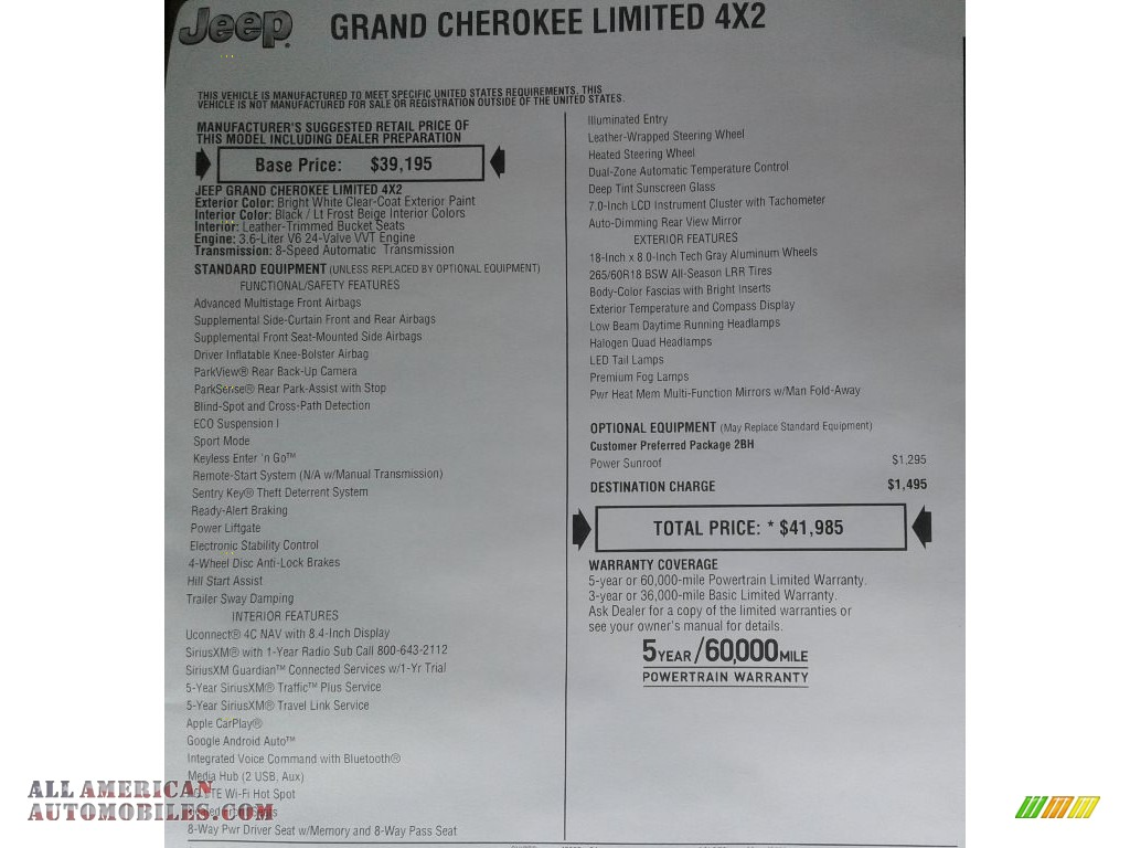 2019 Grand Cherokee Limited - Bright White / Light Frost Beige/Black photo #36