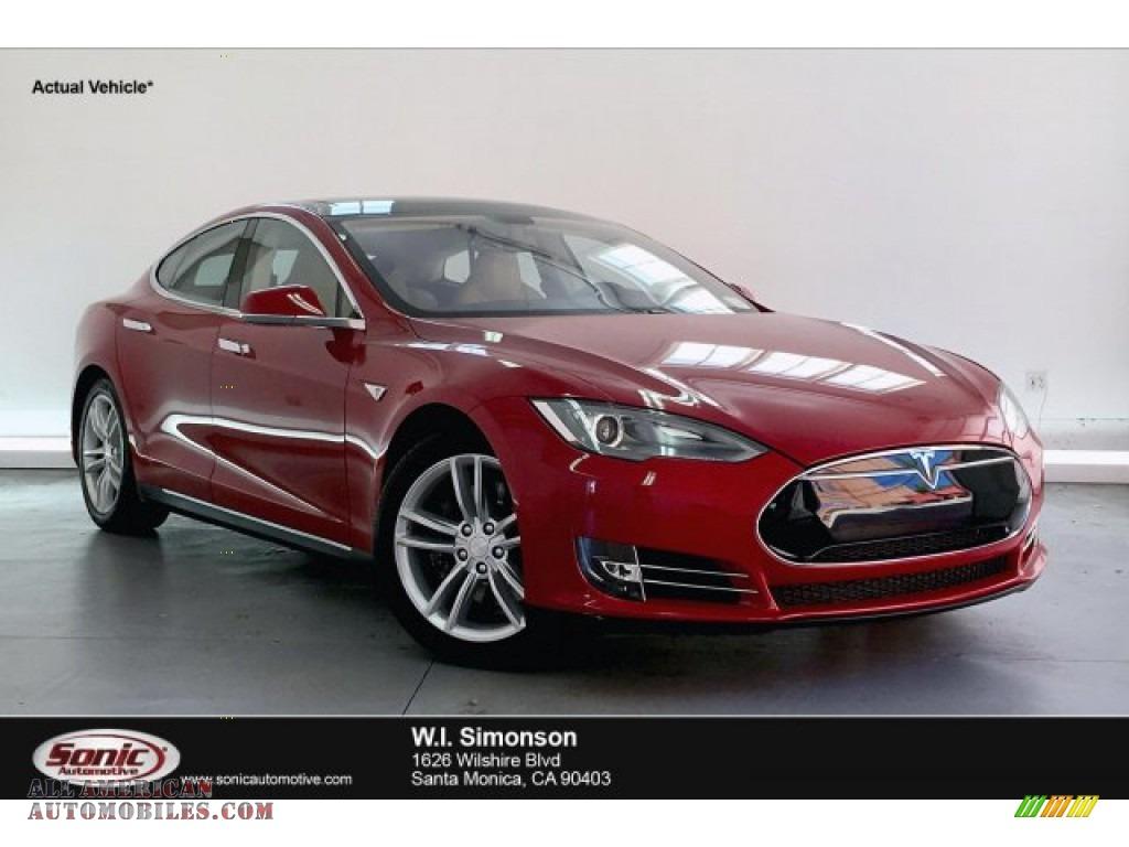 Red Tesla Multi-Coat / Tan Tesla Model S P85 Performance