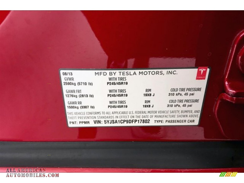 2013 Model S P85 Performance - Red Tesla Multi-Coat / Tan photo #24