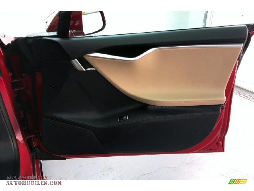 2013 Model S P85 Performance - Red Tesla Multi-Coat / Tan photo #30