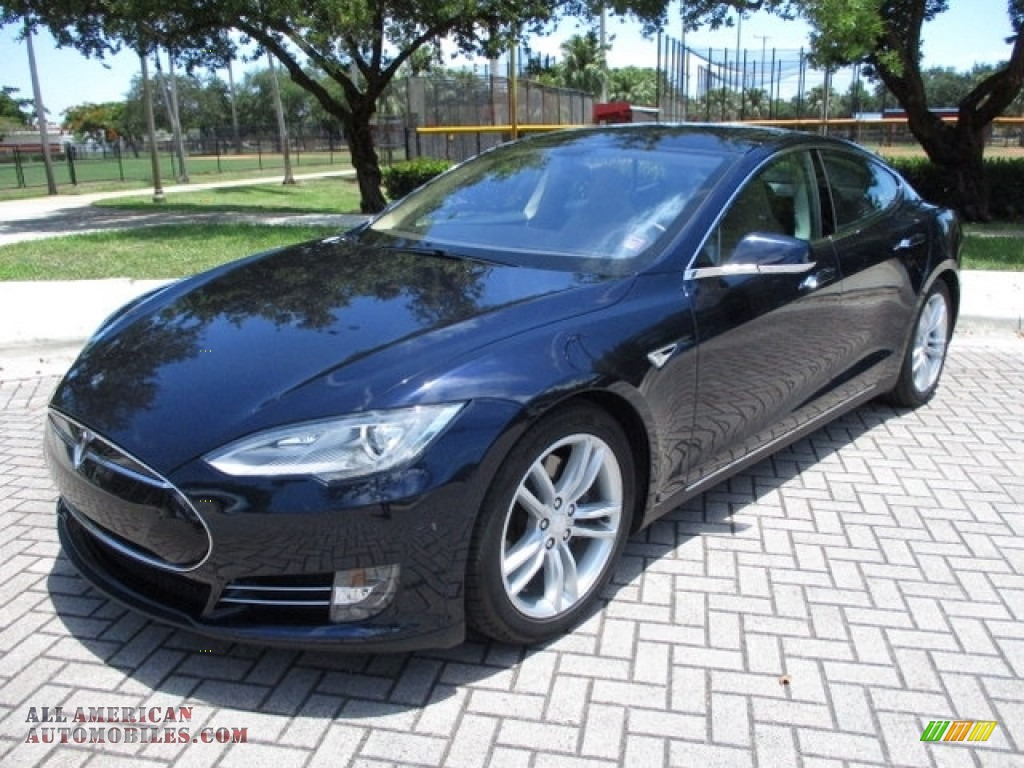 2013 Model S P85 Performance - Blue Metallic / Tan photo #1