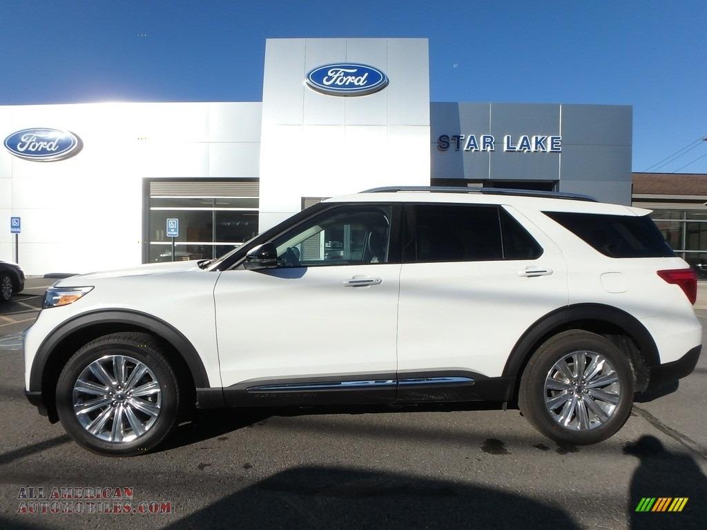 2020 Explorer Limited 4WD - Star White Metallic Tri-Coat / Sandstone photo #1