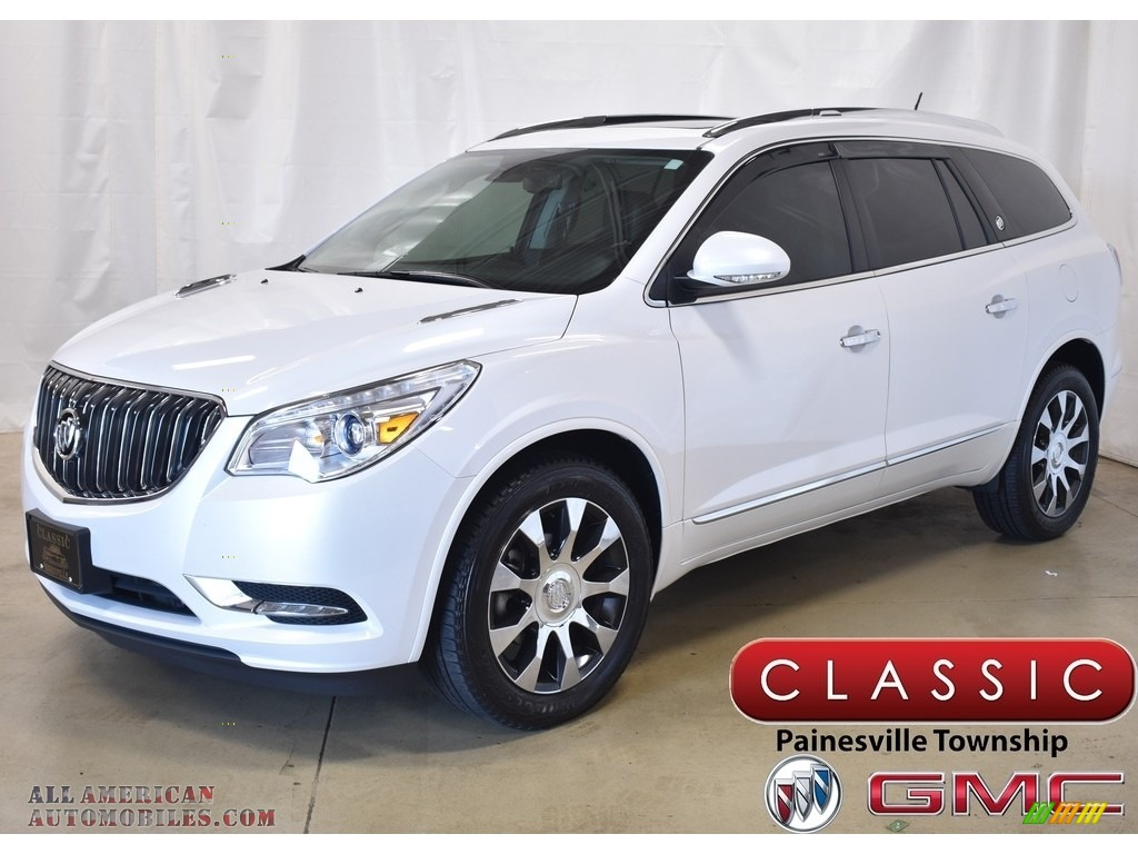 White Frost Tricoat / Ebony/Ebony Buick Enclave Leather AWD