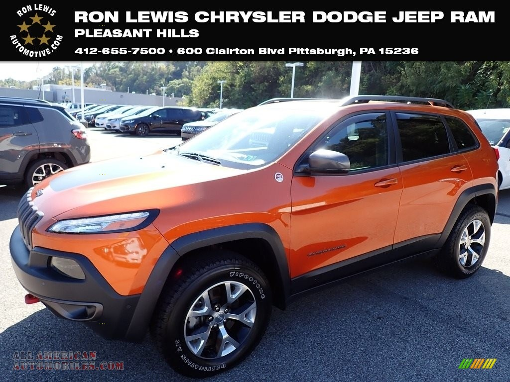 2014 Cherokee Trailhawk 4x4 - Mango Tango Pearl Coat / Morocco - Black photo #1