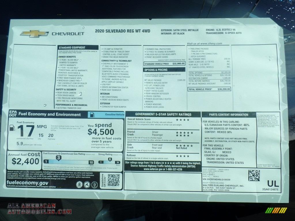 2020 Silverado 1500 WT Regular Cab 4x4 - Satin Steel Metallic / Jet Black photo #34