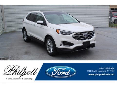 Star White Metallic Tri-Coat 2020 Ford Edge Titanium