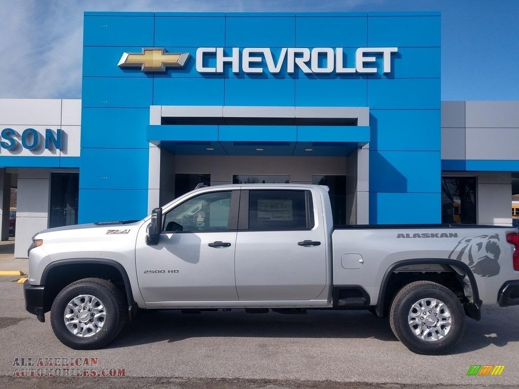 Silver Ice Metallic / Jet Black Chevrolet Silverado 2500HD Work Truck Crew Cab 4x4