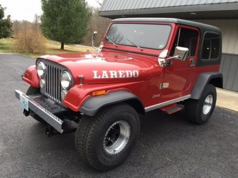 Red 1986 Jeep CJ7 Laredo 4x4