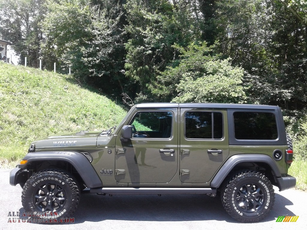 2020 Wrangler Unlimited Willys 4x4 - Sarge Green / Black photo #1