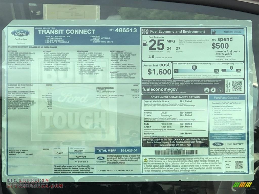 2021 Transit Connect XL Van - Silver Metallic / Ebony photo #10