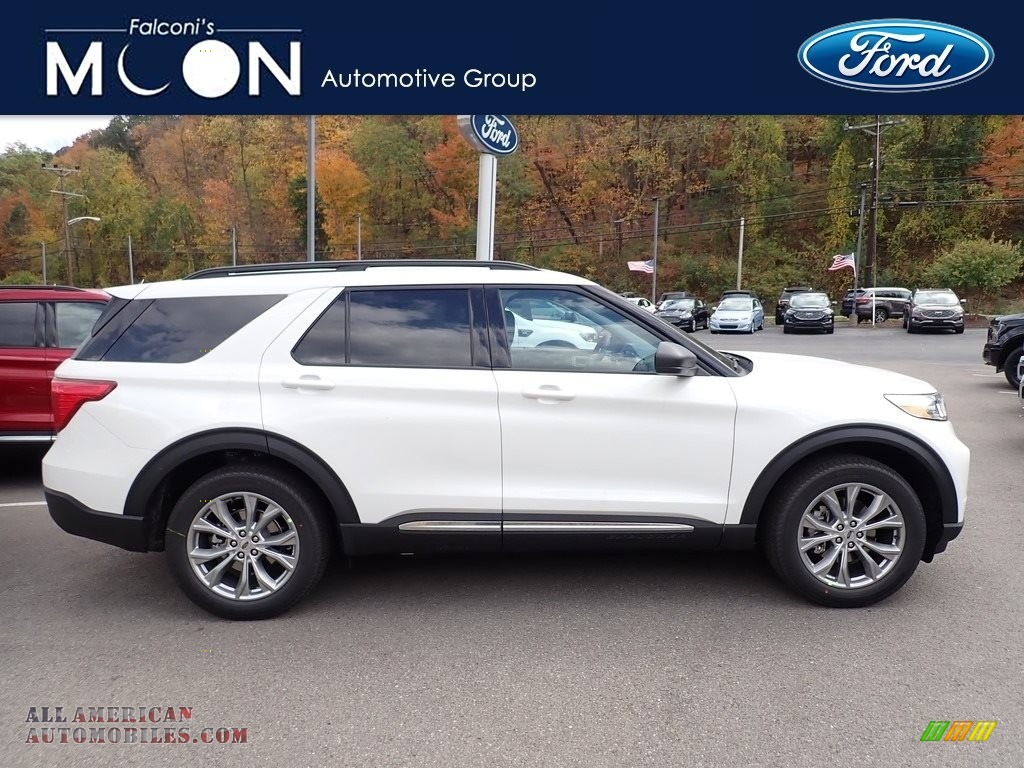 2021 Explorer XLT 4WD - Star White Metallic Tri-Coat / Ebony photo #1