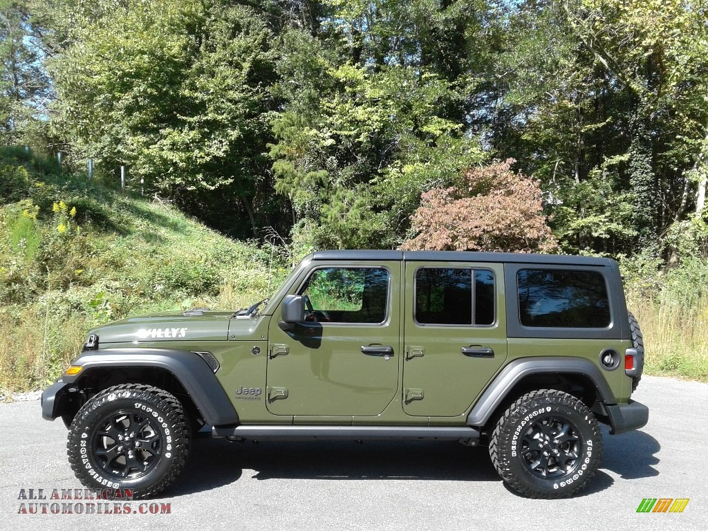 2021 Wrangler Unlimited Willys 4x4 - Sarge Green / Black photo #1