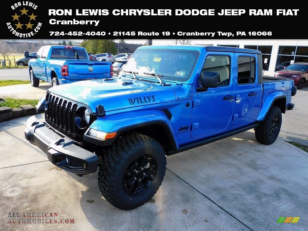 2021 Gladiator Willys 4x4 - Hydro Blue Pearl / Black photo #1