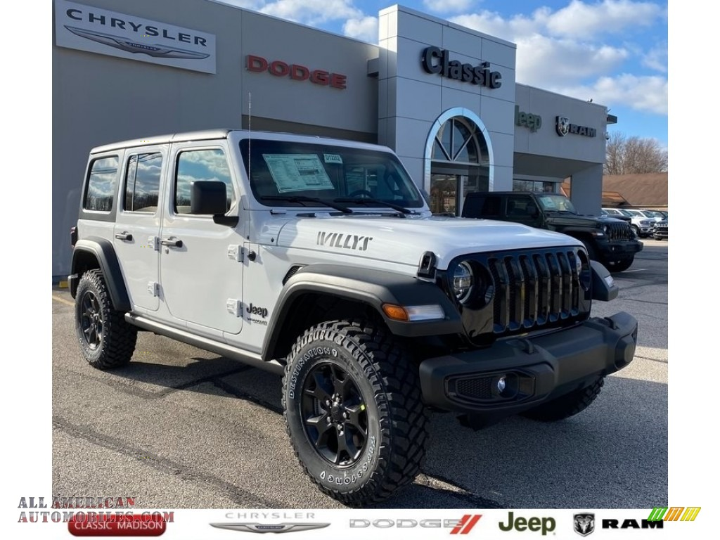 2021 Wrangler Unlimited Willys 4x4 - Bright White / Black photo #1