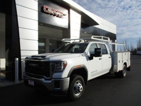 Summit White 2020 GMC Sierra 3500HD Crew Cab 4WD Chassis Dump Truck