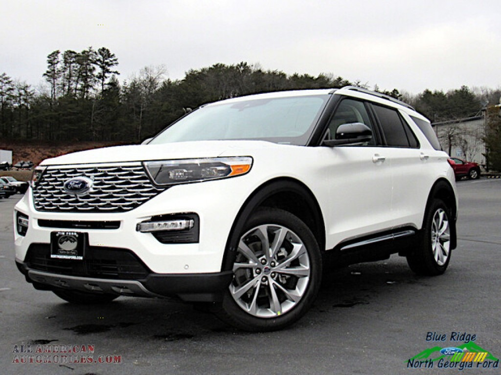 2021 Explorer Platinum 4WD - Star White Metallic Tri-Coat / Sandstone photo #1