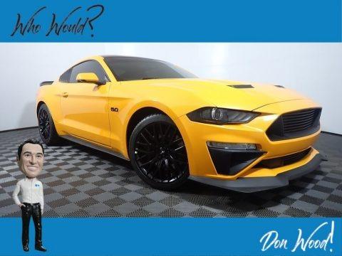 Orange Fury 2019 Ford Mustang GT Premium Fastback