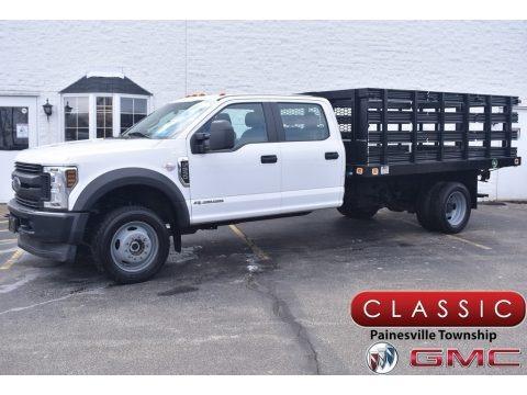 White 2019 Ford F550 Super Duty XL Crew Cab 4x4 Stake Truck