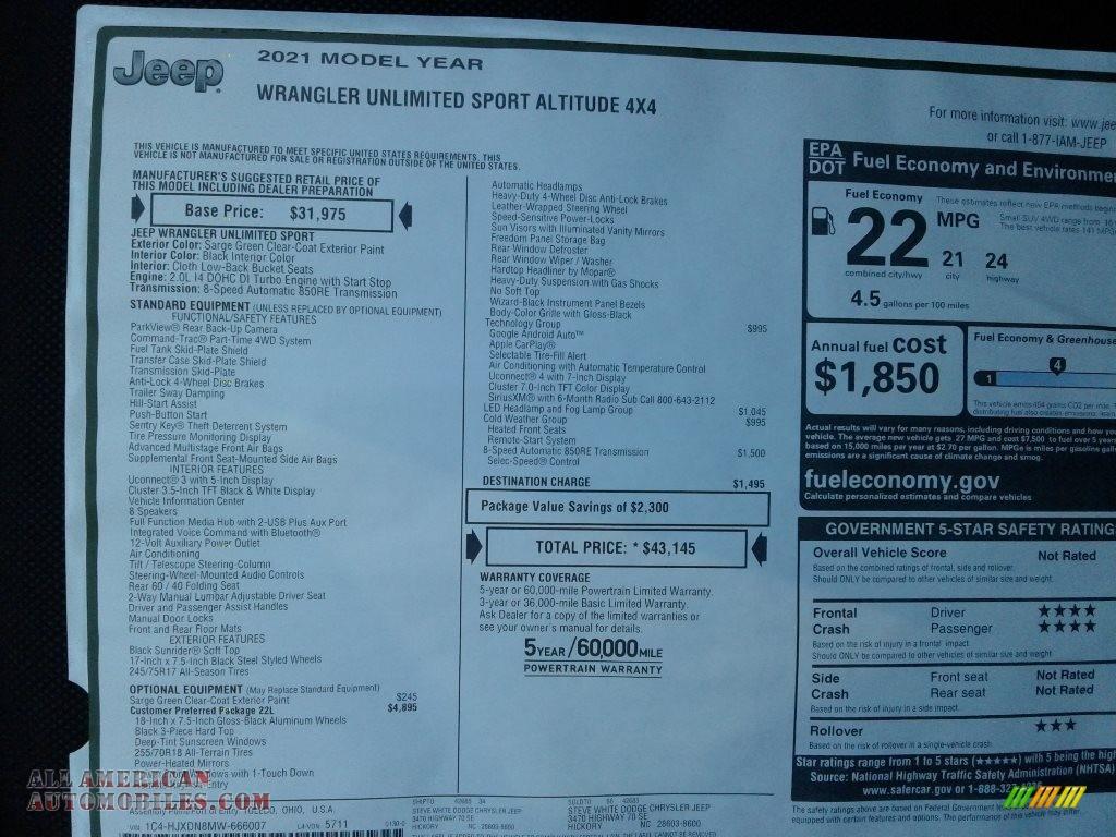 2021 Wrangler Unlimited Sport Altitude 4x4 - Sarge Green / Black photo #27